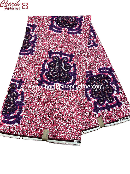 African Wax Print  6 yards/ Ankara fabric/ Purple Crest ankara/