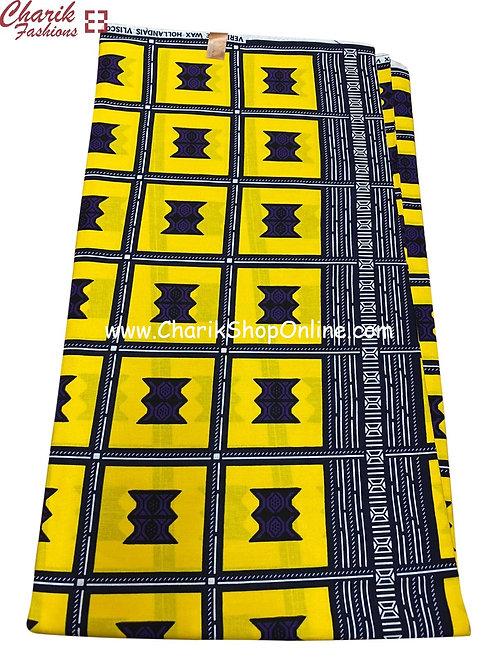 African Wax Print  6 yards/ Ankara fabric/ Yellow Box ankara/
