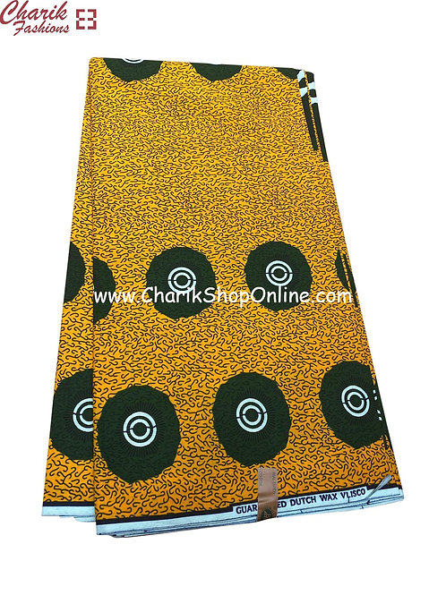 African Wax Print  6 yards/ Ankara fabric/ Green circle ankara/