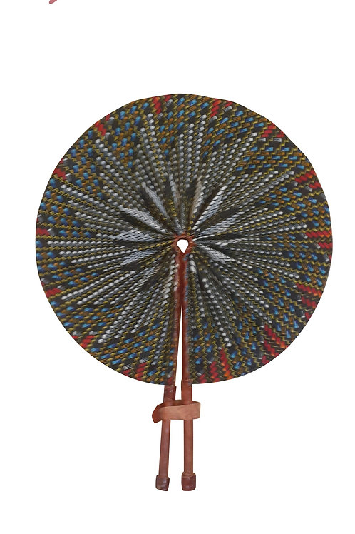 African Folding Hand Fan Charcoal Prism Quality Fabric