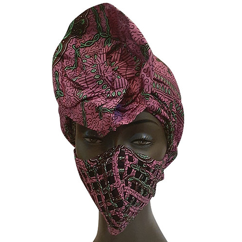 African print adult sized satin Purple Bonnet with Mask