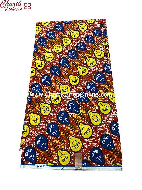 African Wax Print  6 yards/ Ankara fabric/ Blue Bulb ankara/