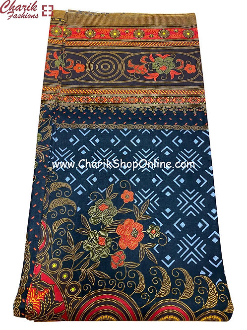 African Wax Print  6 yards/ Ankara fabric/ Burnt Orange Floral ankara/