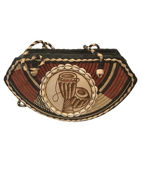 Ankara African Rope & Leather Half Moon Tote Bag #6