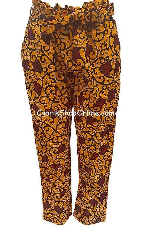 Full Elastic Red Bloom African print pants with belt