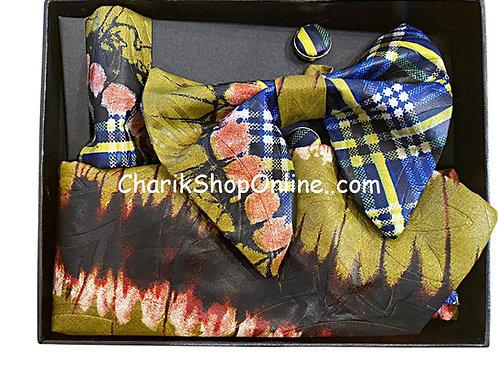 Ankara Olive Forest Classic Bow Tie - handkerchief - cuff lin