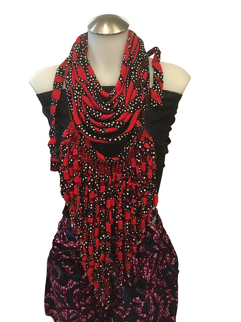 Red Black African Print Fabric Long Necklace