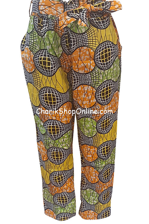 Full Elastic Blue Sphere African print pants with belt