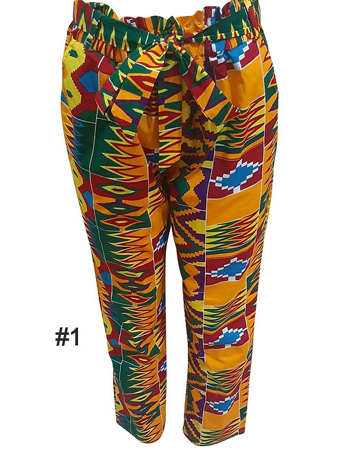Full Elastic Africa Kente print pants with belt Ankara pants