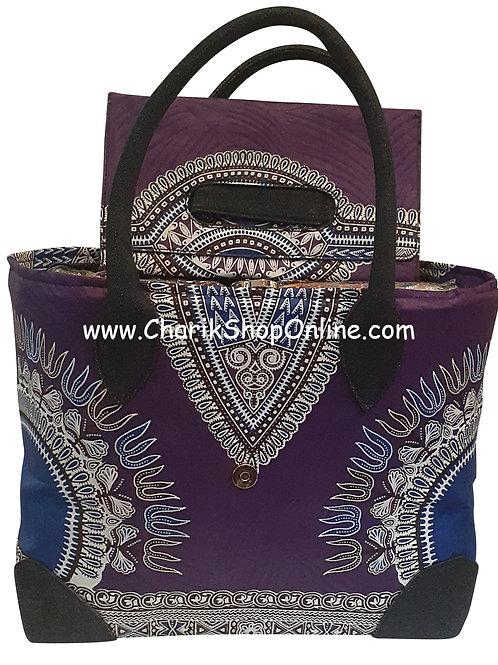 Ankara purse/ dashiki handbag reversible denim/ Ankara bag Purple