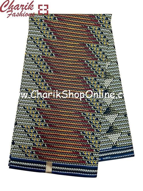 African Wax Print  6 yards/ Ankara fabric/ Grey Brown Zig Zag ankara/