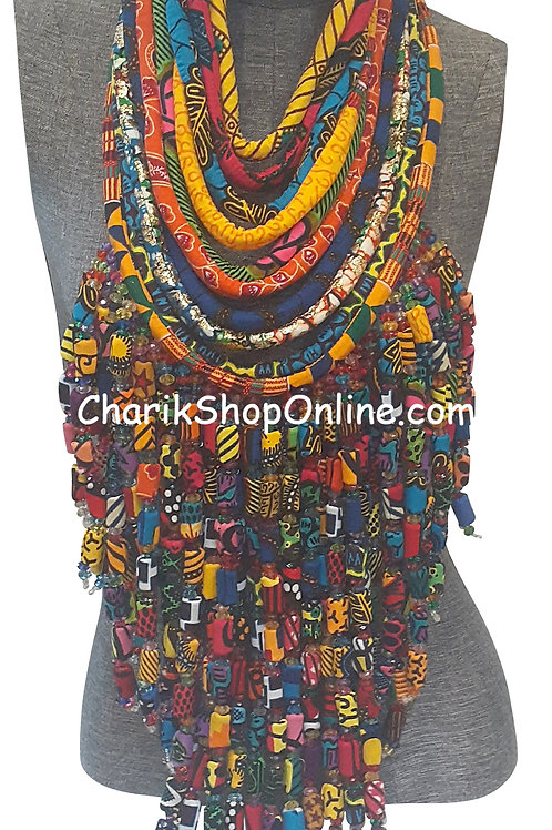 Ankara Print Full Length Beaded Statement Necklace Multicolor