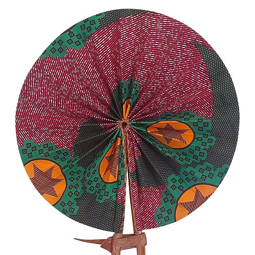 African Folding Hand Fan Purple Star Quality Fabri