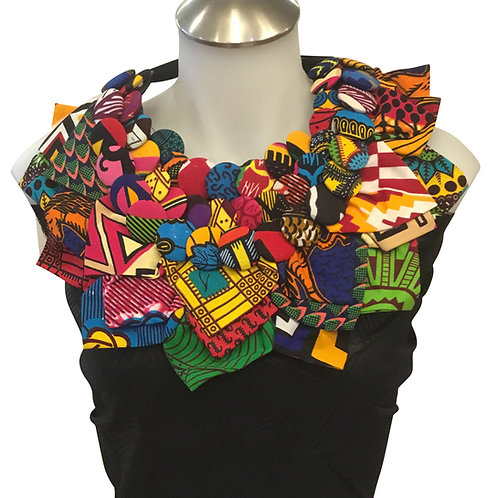 African Print Fabric Button & Leaves Bib Necklace #1