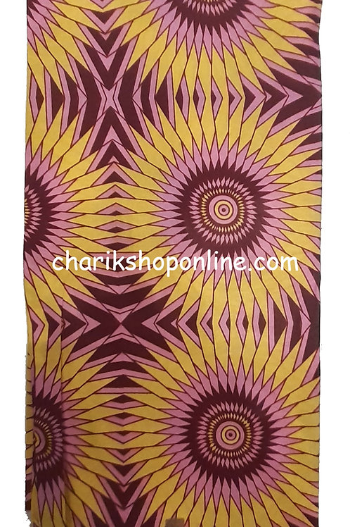 African Wax Print 6 yards/ Ankara fabric/ Gold Fan ankara/