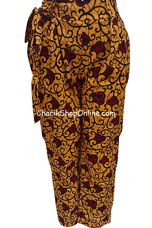 African Red Bloom V-Cut Ankara print pants with belt