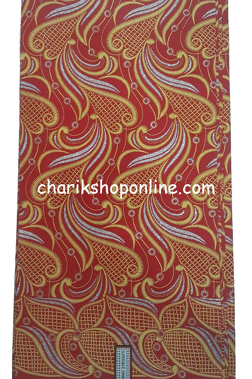 African Wax Print 6 yards/ Ankara fabric/ Raised Red Gold ankara/