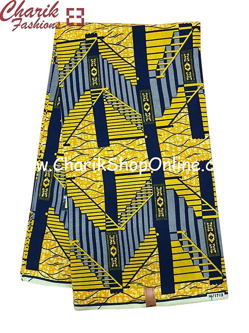 African Wax Print  6 yards/ Ankara fabric/ Blue Ladder ankara/