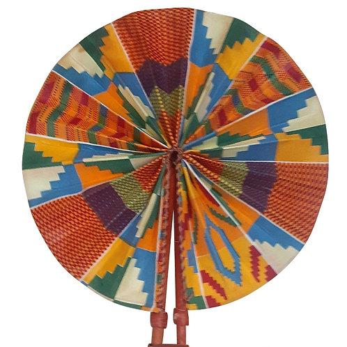 African Folding Hand Fan Kente Light Blue Quality Fabri