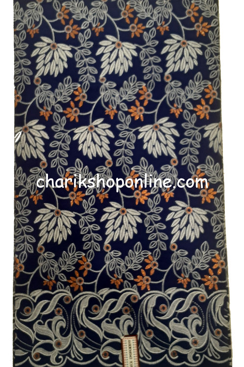 African Wax Print 6 yards/ Ankara fabric/ Raised Blue Grey Leaf ankara/