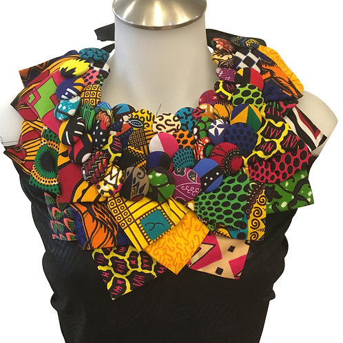 African Print Fabric Button Leaves Bib Necklace #7