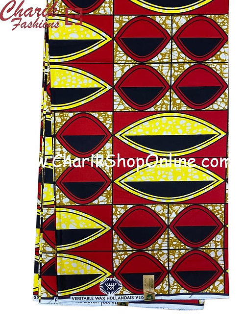 African Wax Print  6 yards/ Ankara fabric/ Red Yellow Eye ankara/