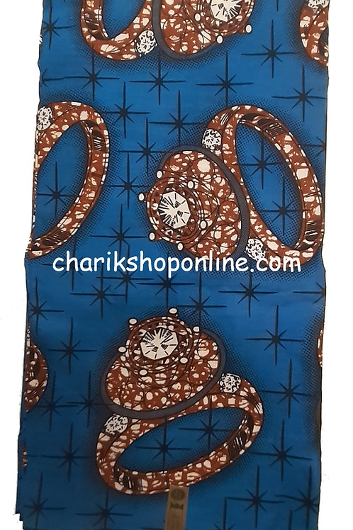 African Wax Print 6 yards/ Ankara fabric/ Blue Ring ankara/