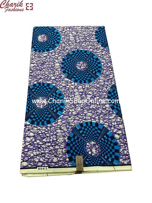African Wax Print  6 yards/ Ankara fabric/ Blue Checkers ankara/