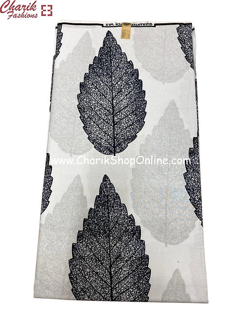 African Wax Print  6 yards/ Ankara fabric/ Grey Leaf ankara/