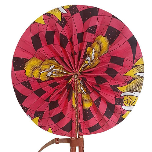 African Folding Hand Fan Pink Black Yellow Quality Fabri