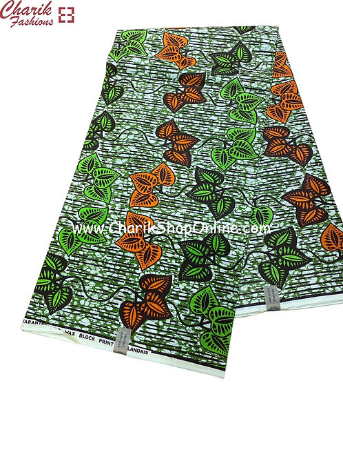 African Wax Print  6 yards/ Ankara fabric/ Orange leaf ankara/