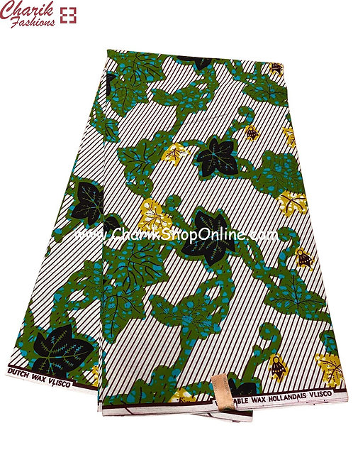 African Wax Print  6 yards/ Ankara fabric/ Black Leaf ankara/