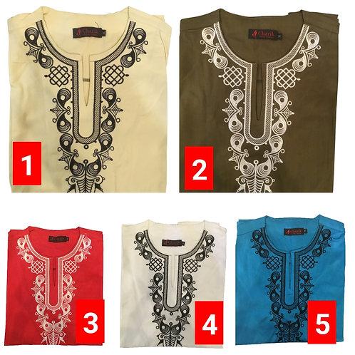 2 African embroidered dashiki men's shirt Size Medium Set #1
