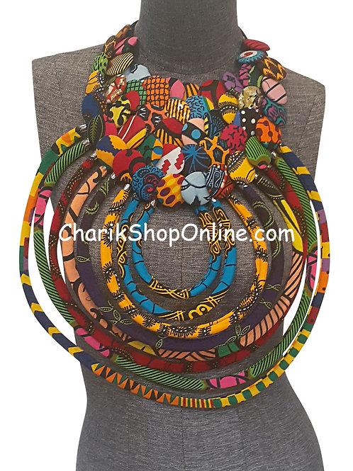 Ankara Print African Bib Necklace #8