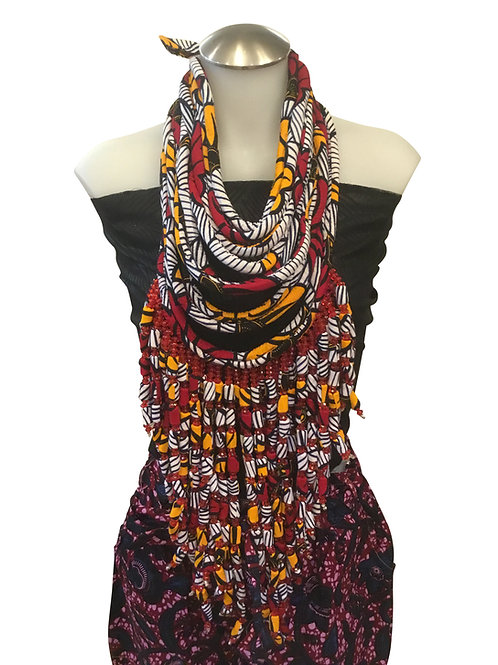 Red Orange African Print Fabric Long Necklace