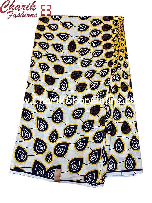 African Wax Print  6 yards/ Ankara fabric/ Black White Drip ankara/