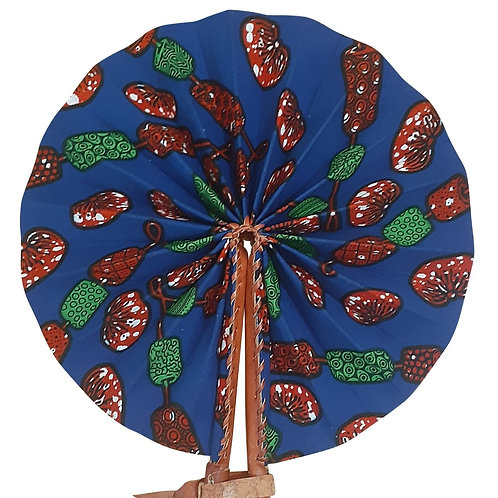 African Folding Hand Fan Red Green Fruit Quality Fabri