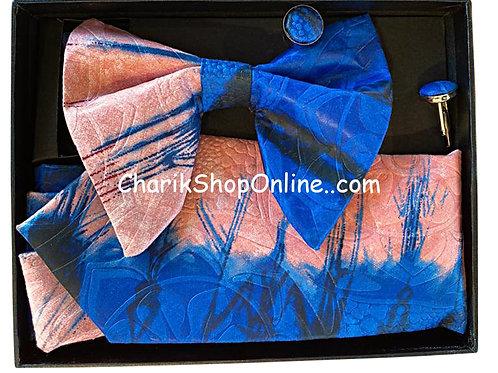 Ankara Blue Still Classic Bow Tie - handkerchief - cuff lin