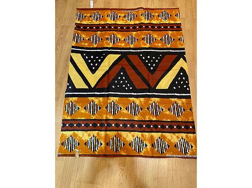 African Wax Print 6 yards/ Ankara fabric/ Brown White Cube Mudcloth ankara/