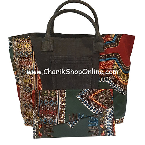 Ankara purse/ large dashiki handbag reversible denim/ Ankara bag Burgundy Green