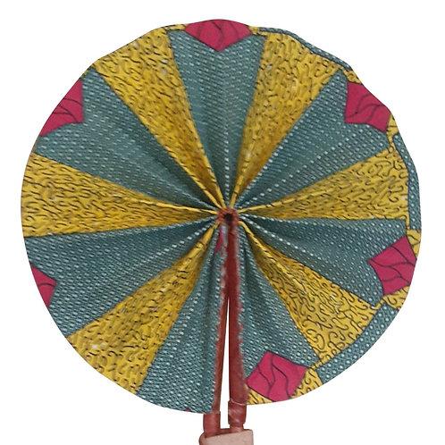 African Folding Hand Fan Pink Leaf Quality Fabric