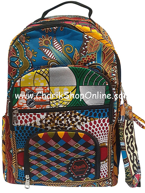 Ankara Print African Print Backpack Blue Paisley