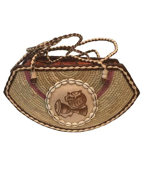 Ankara African Rope & Leather Half Moon Tote Bag #3