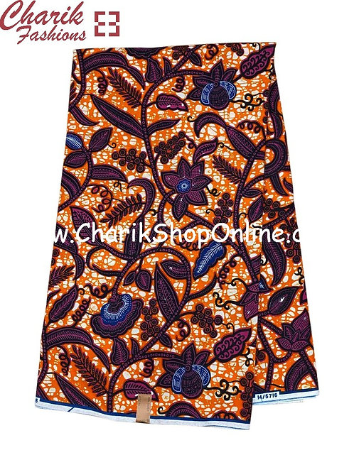 African Wax Print  6 yards/ Ankara fabric/ Dark Purple Floral ankara/