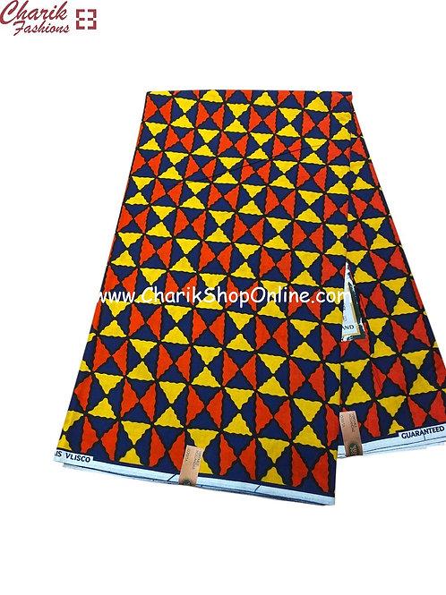 African Wax Print  6 yards/ Ankara fabric/ Red Yellow Blue ankara/