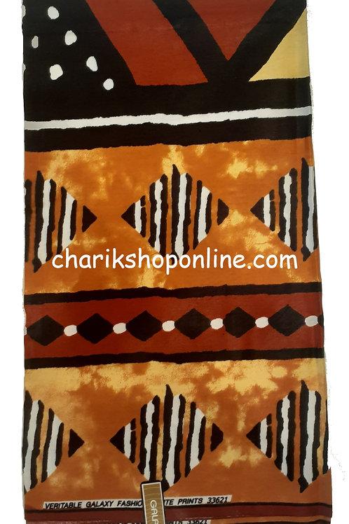 African Fabric 6 Yards/ Mudcloth Print /Black Diamond Bogolan Print