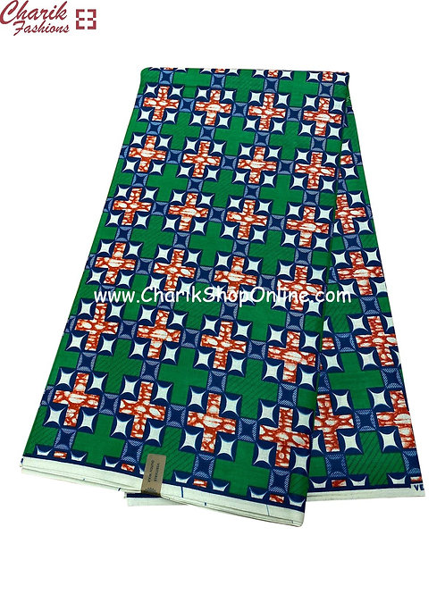 African Wax Print  6 yards/ Ankara fabric/ Green News ankara/