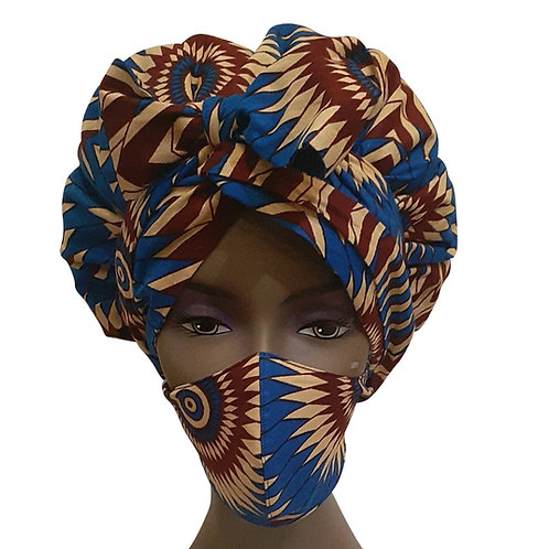 African print adult sized satin Blue Maroon Bonnet with mask
