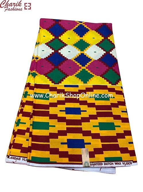 African Wax Print  6 yards/ Ankara fabric/ Blue Purple Checker ankara/