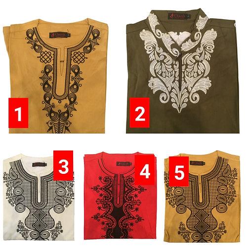 3 African embroidered dashiki men's shirt Size Medium Set #2